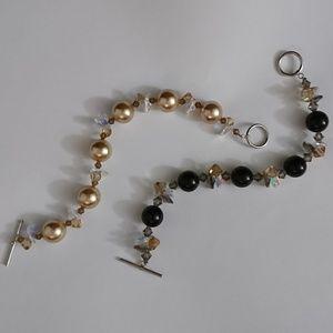 Set Of Two Champagne & Black Beaded Bracelets